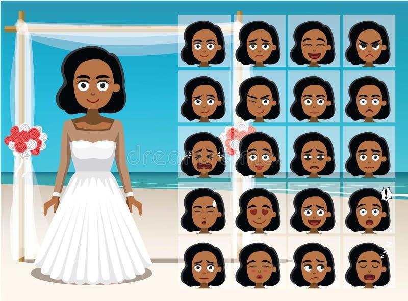 För brudtecknade filmen för kvinnan vänder mot svart sinnesrörelse vektorillustrationen royaltyfri illustrationer
