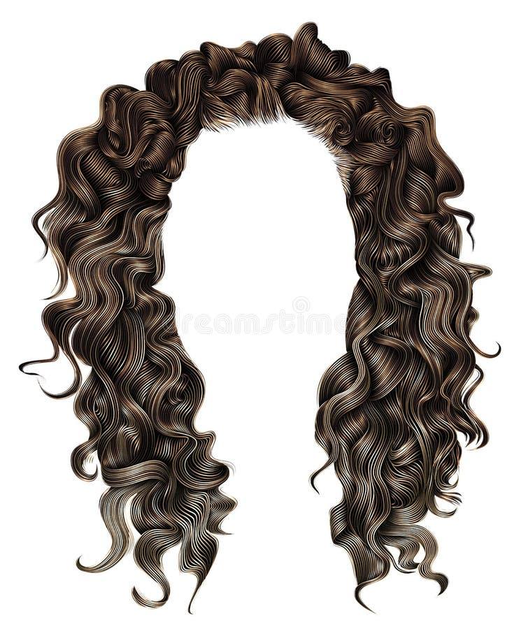 För brunetthår för kvinna moderiktig lång lockig brunt för peruk retro stil royaltyfri illustrationer