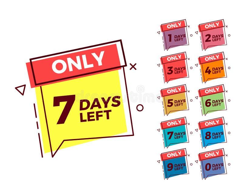För bubblaform för vektor geometriska etiketter på olika färger med nummer av lämnade dagar royaltyfri illustrationer