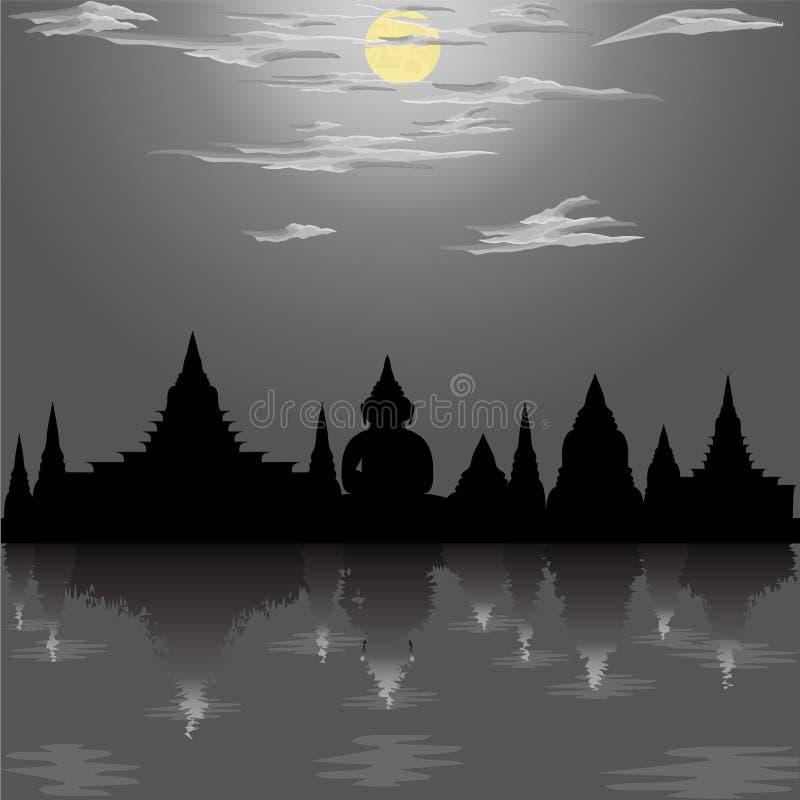 För buddha för krathong för konturtempelfestival loy för asia Thailand för måne kultur för siam för flod natt illustration för re royaltyfri illustrationer