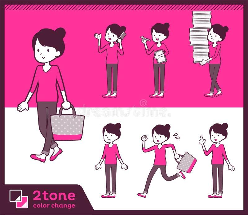 för bullehår för typ 2tone flåsanden utformar mom_set 02 stock illustrationer