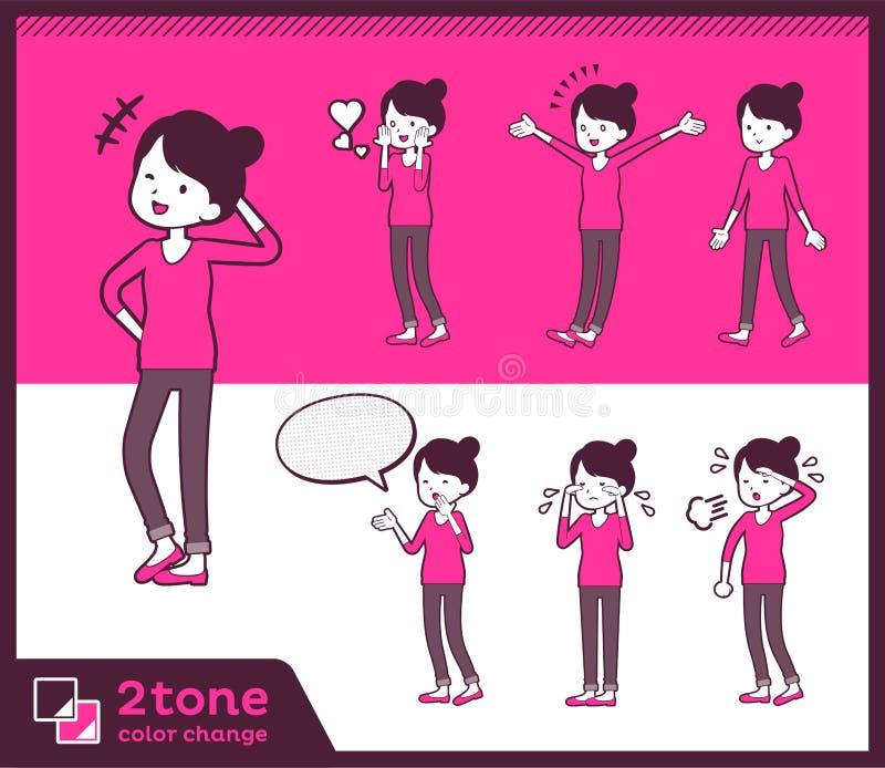 för bullehår för typ 2tone flåsanden utformar mom_set 03 stock illustrationer