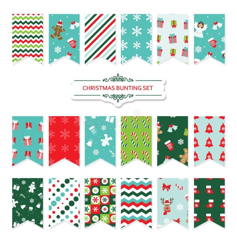 För buntingflaggor för jul festlig uppsättning stock illustrationer