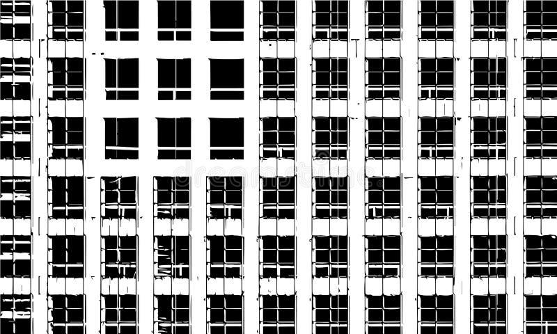 för byggnadskonstruktion för bakgrund svarta industriella rader under fönster royaltyfri illustrationer