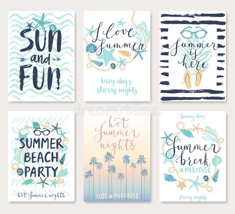 För calligraphyckort för sommar hand dragen uppsättning royaltyfri illustrationer