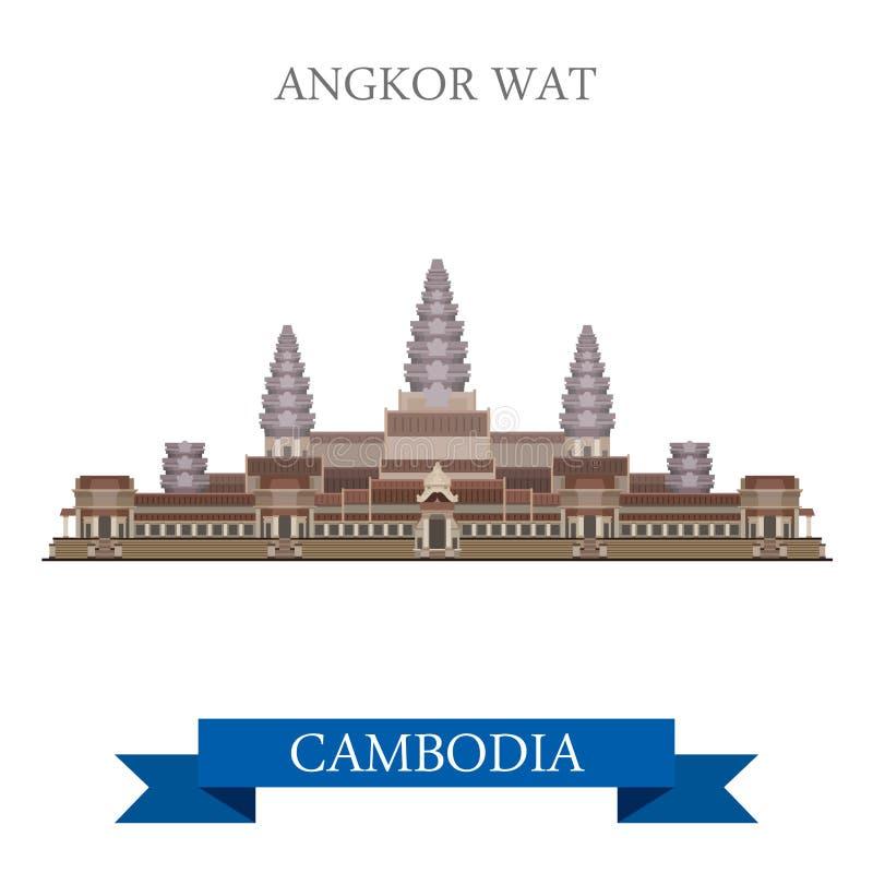 För Cambodiaflat för Angkor Wat tempel komplext lopp för dragning vektor vektor illustrationer