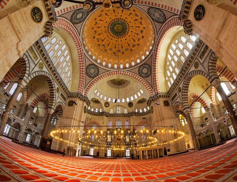 För Camii för SÃ-¼leymaniye inre moské arkivbild