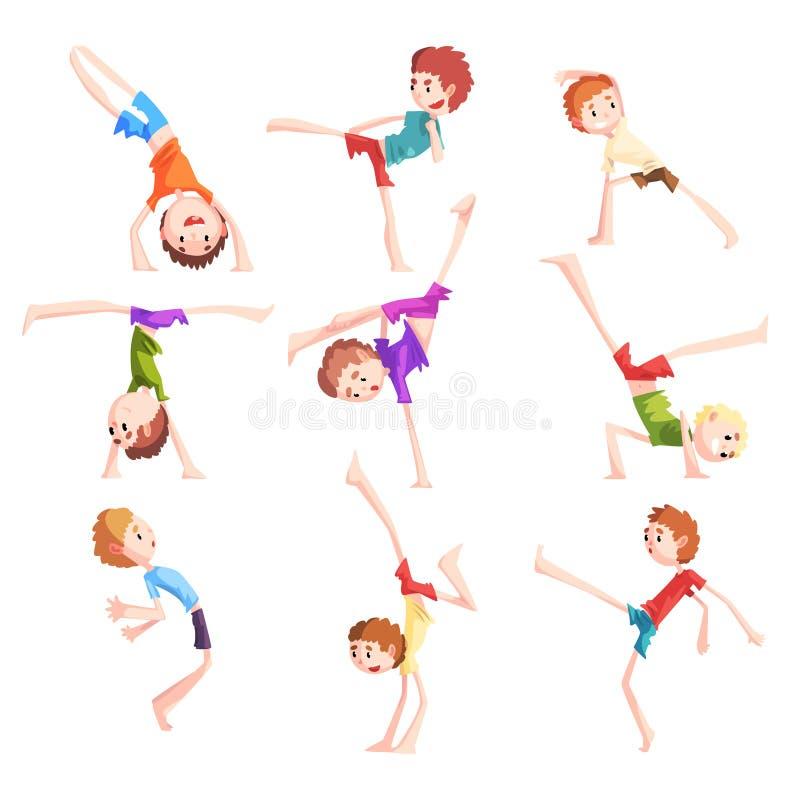 För capoeiraförehavanden för pojke praktiserande uppsättning, ungetecken som gör stridbeståndsdelar av kampsportvektorillustratio stock illustrationer