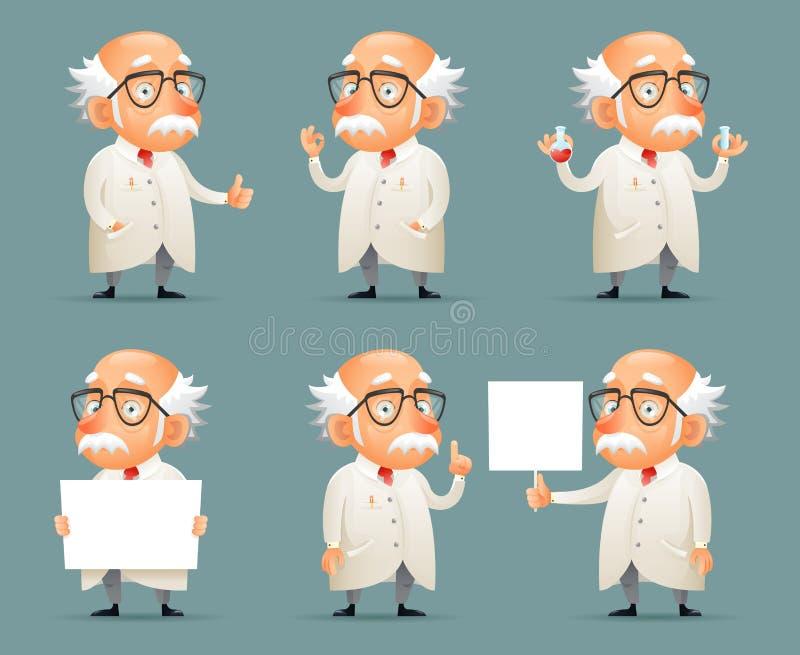 För Character Icons Set för gammal forskare illustration för vektor för lek för mobil för design Retro tecknad film stock illustrationer