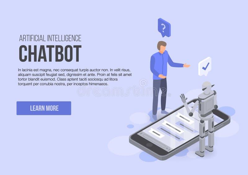 För chatbotbegrepp för konstgjord intelligens baner, isometrisk stil royaltyfri illustrationer