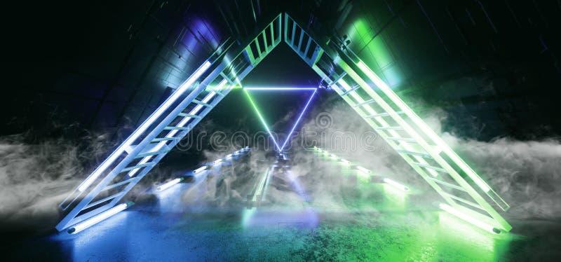 För Chip Reflective Gate Portal Neon för futuristisk teknologi schematisk matris för moderkort för rökSci Fi blått för laser glöd stock illustrationer