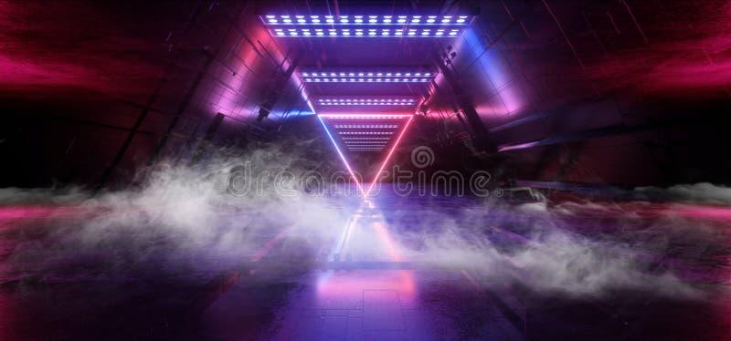 För Chip Reflective Gate Portal Neon för futuristisk teknologi schematisk matris för moderkort för rökSci Fi blått för laser glöd royaltyfri illustrationer
