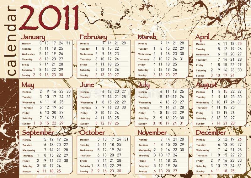 för chokladgrunge för 2011 kalender splatter royaltyfri illustrationer