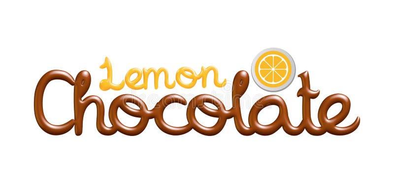 för chokladlogo för citron 3D design royaltyfri illustrationer