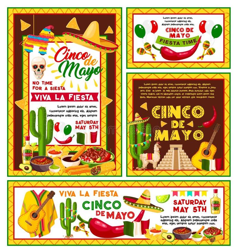 För Cinco de Mayo för vektoraffischmexikan parti fiesta stock illustrationer