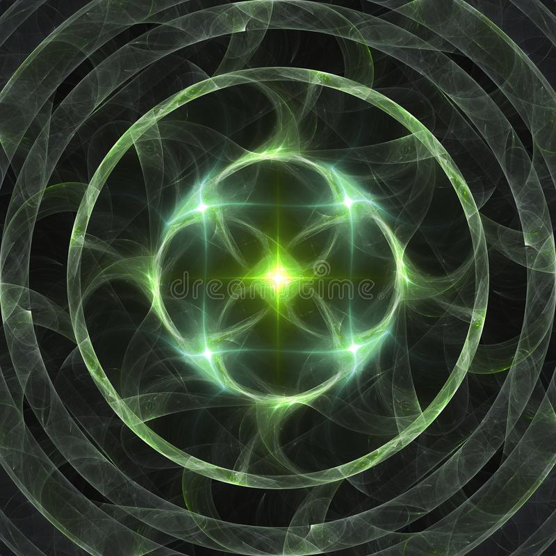 För cirkelfractal för abstrakt glänsande grön stjärna brinnande konst för bakgrund för baner eller för tryck stock illustrationer