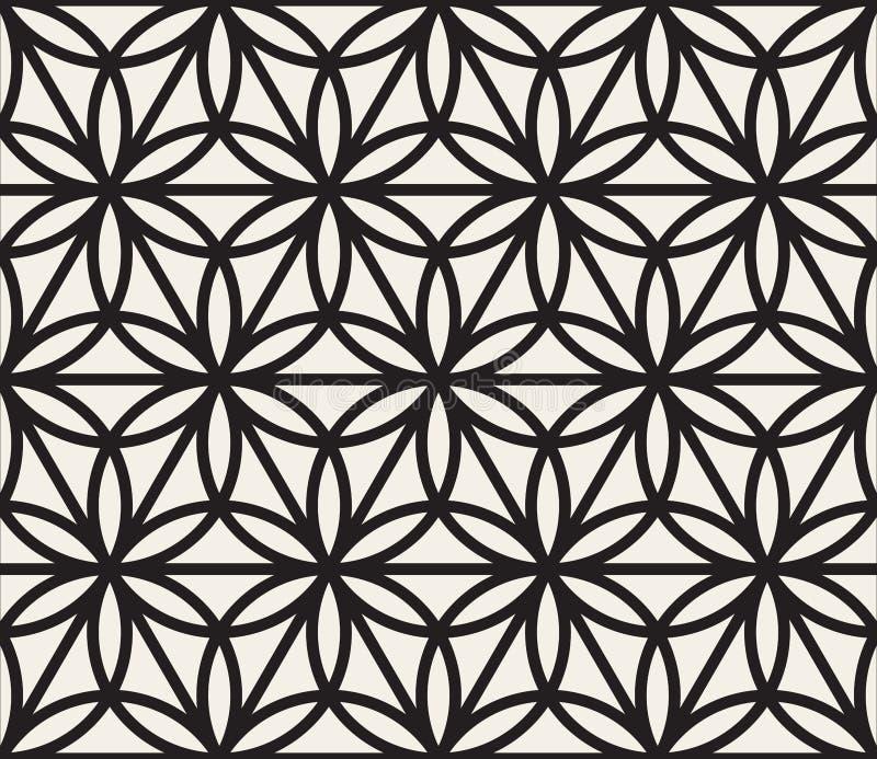 För cirkeltriangel för vektor sömlös svartvit geometrisk Shape modell royaltyfri illustrationer
