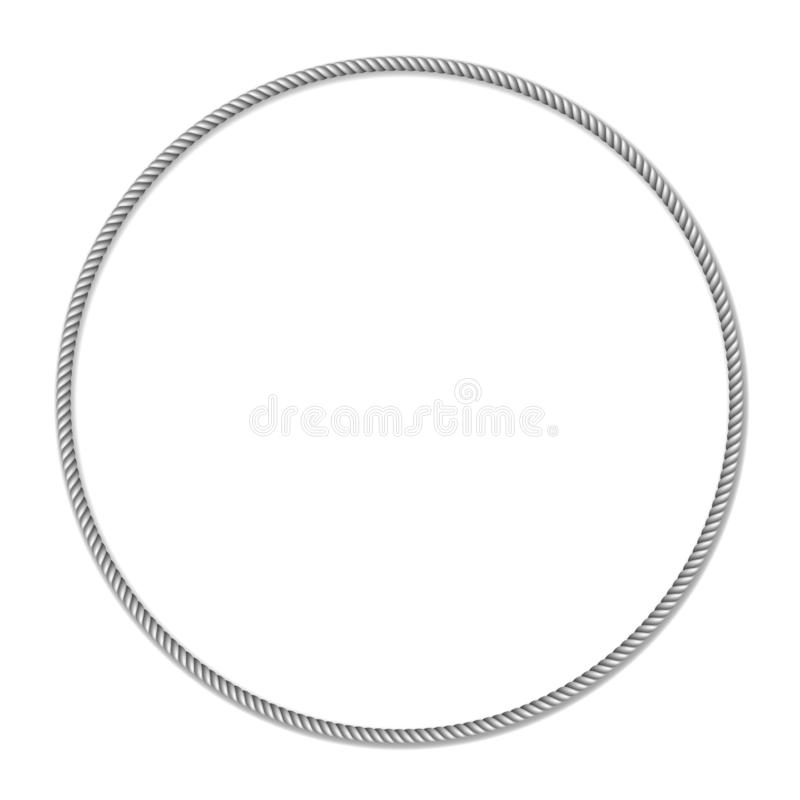 För cirkelvektor för grå vit rep vävd gräns, cirkelvektorram vektor illustrationer