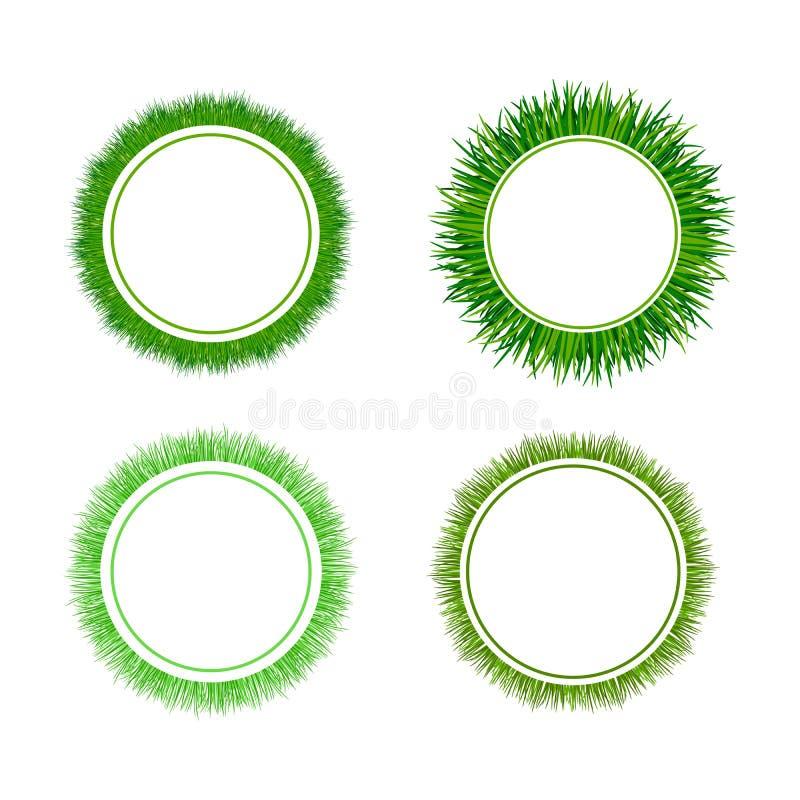 För cirkulärramar för grönt gräs uppsättning stock illustrationer