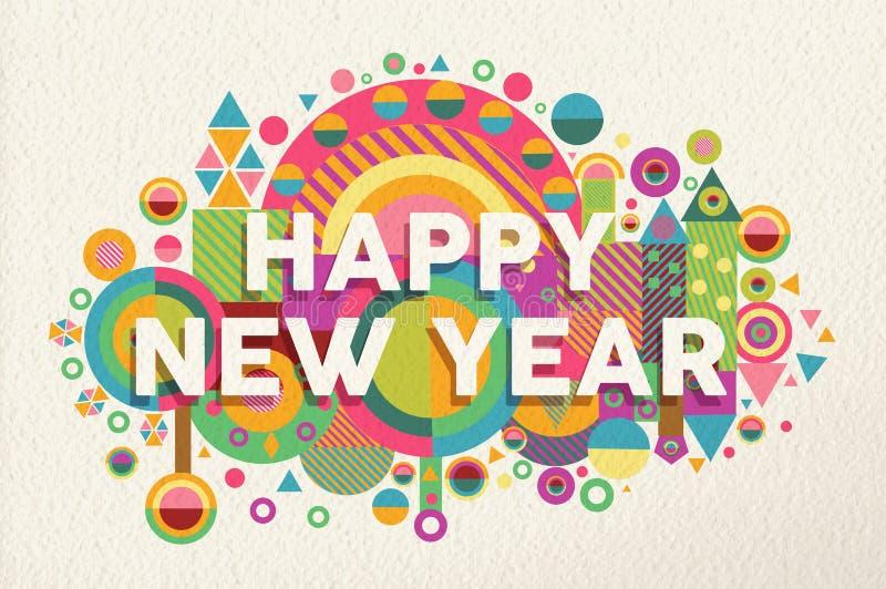 För citationsteckenillustration för lyckligt nytt år 2015 affisch stock illustrationer