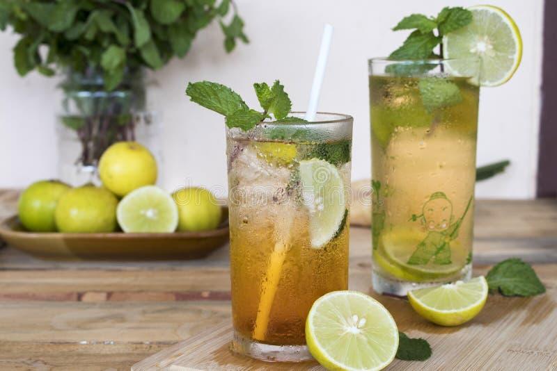 För citronte för växt- sunda drinkar kallt vatten för coctail royaltyfri foto