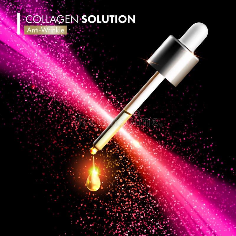 För collagenserum för Coenzyme Q10 droppar för extrakt stock illustrationer