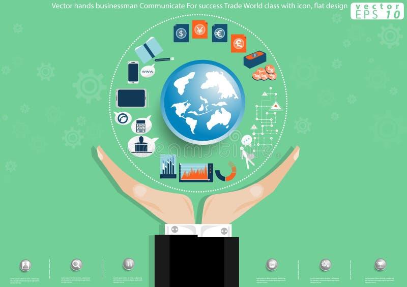 För Communicate For för vektorhandaffärsman grupp för värld för handel framgång med symbolslägenhetdesign royaltyfri illustrationer