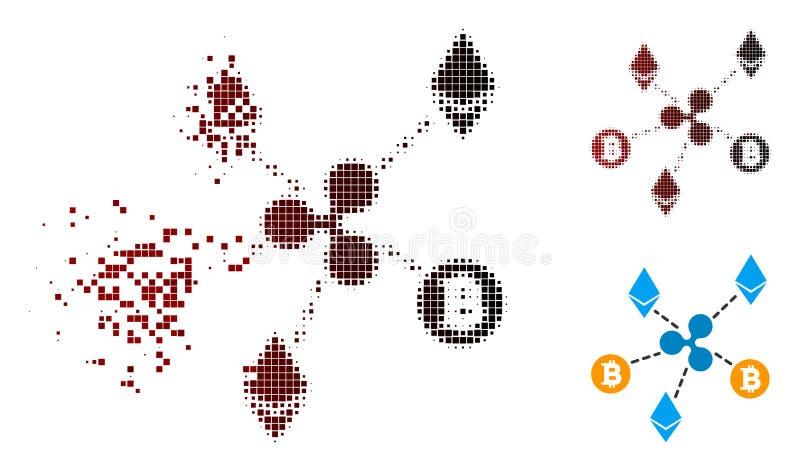 För Cryptocurrency för rörande PIXEL rastrerad symbol förbindelse royaltyfri illustrationer