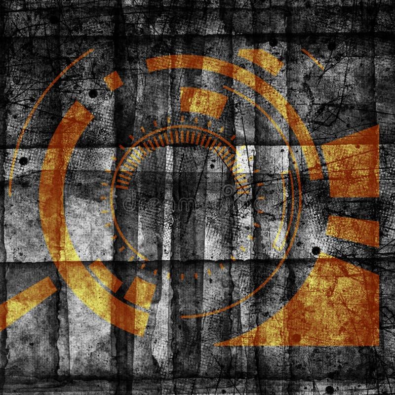 F?r cyberteknologi f?r abstrakt grunge futuristisk backgroun Stads- cyberpunkrockdesignd stock illustrationer