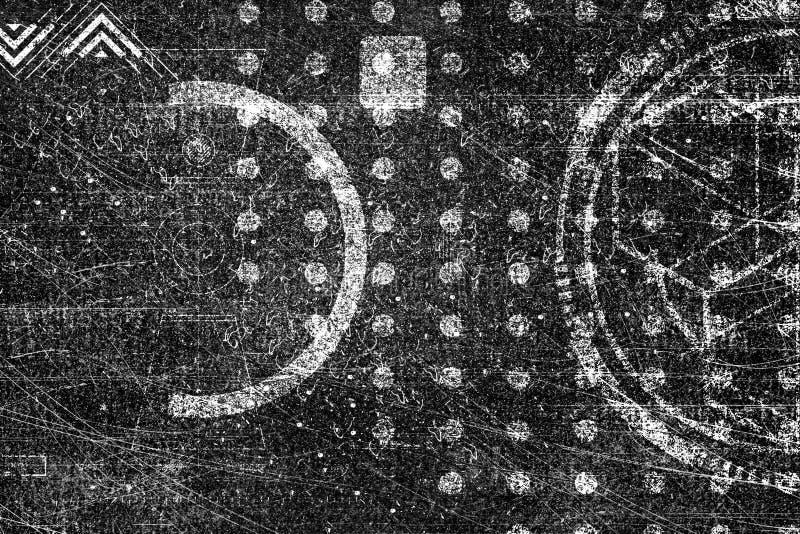 För cyberteknologi för abstrakt grunge futuristisk bakgrund Science fictionströmkretsdesign Ritning på gammal grungy yttersida in royaltyfri illustrationer