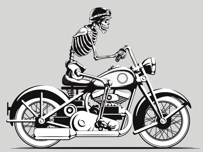 För cyklistvektor för tappning skelett- kontur stock illustrationer