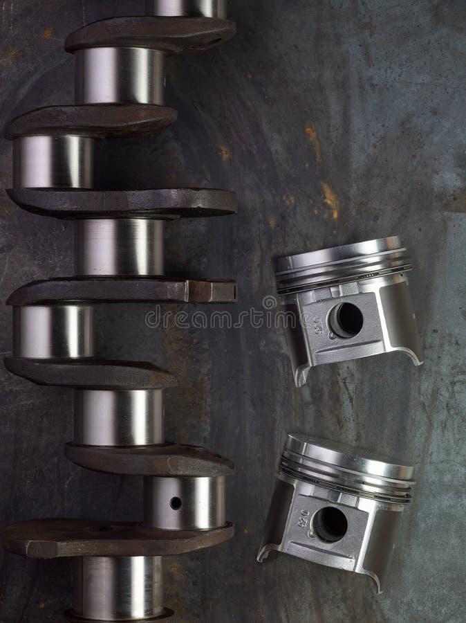för cylindermotor fyra för crankshaft 3d pistonger arkivbilder