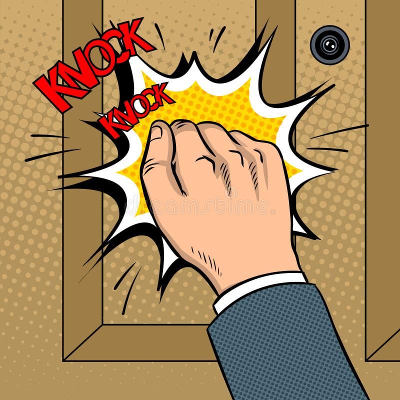För dörrpop för hand knokning illustration för vektor för konst vektor illustrationer