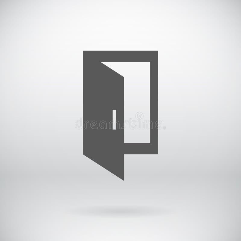 För dörrvektor för lägenhet öppet nära symbol för utgång för ingång stock illustrationer