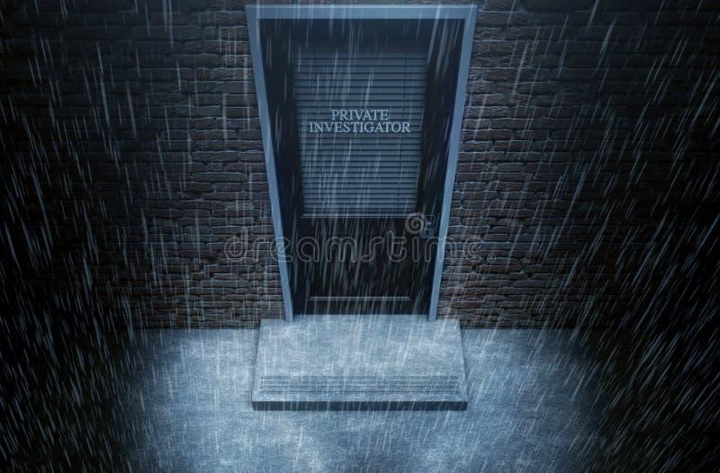 För dörryttersida för privat öga regn stock illustrationer
