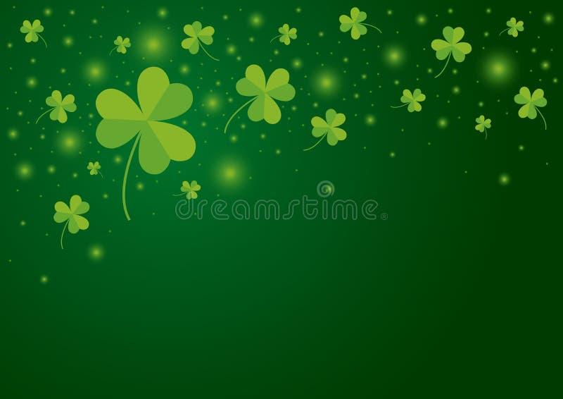 För dagbakgrund för St Patricks design av treklöversidor stock illustrationer