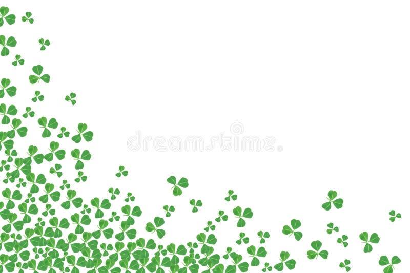 För daghörn för St Patricks gräns av treklöverer över vit royaltyfria bilder