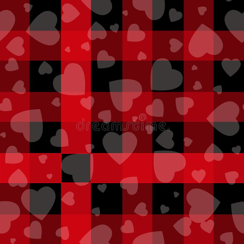 För dagHipster för valentin s vektorn för plädet för kontrollen för tartan och för buffeln för stil mönstrar svarta och röda hjär stock illustrationer