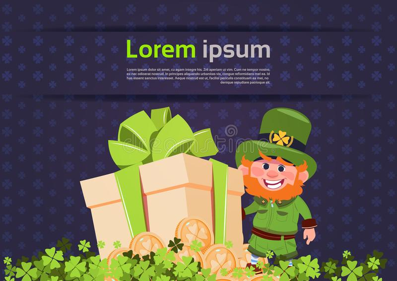 För dagkort för St Patricks mall för bakgrund med trollet över innehavgåvaasken stock illustrationer