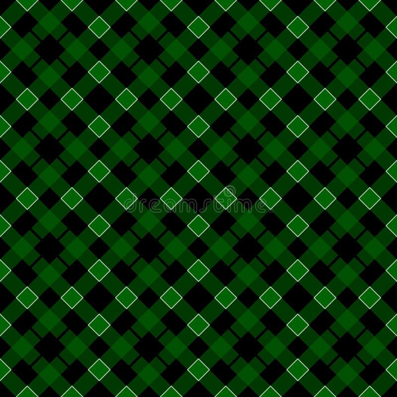 För dagtartan för St Patricks pläd Skotsk modell i grön och vit bur Skotsk bur Traditionell skotsk rutig bakgrund royaltyfri illustrationer