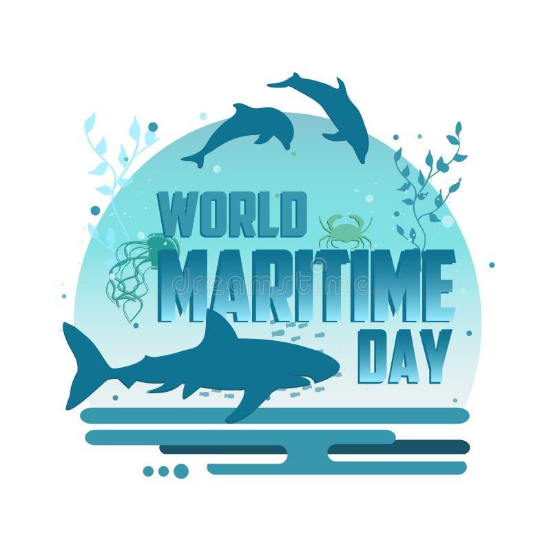 För dagvektor för värld maritim affisch för begrepp stock illustrationer