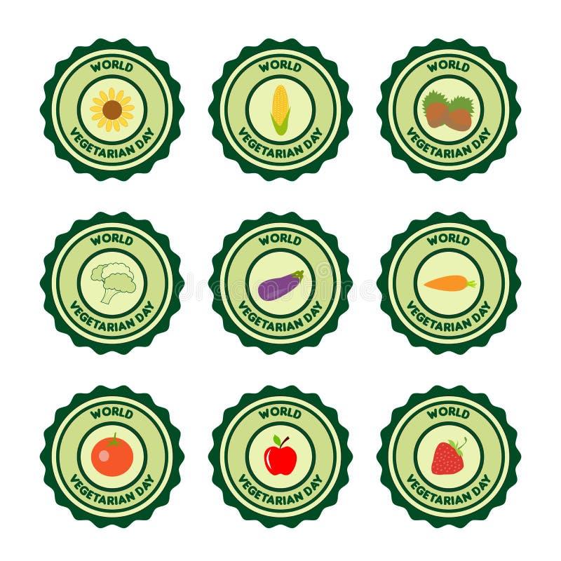 För dagvektor för värld vegetarisk logo-uppsättning med växt-mat royaltyfri illustrationer