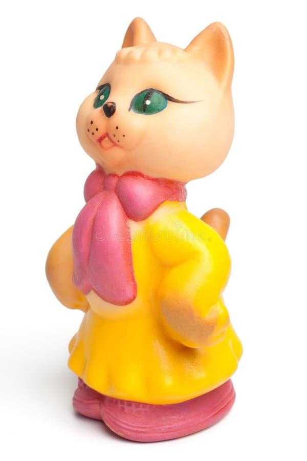För damkatt för tappning rubber leksak royaltyfria foton