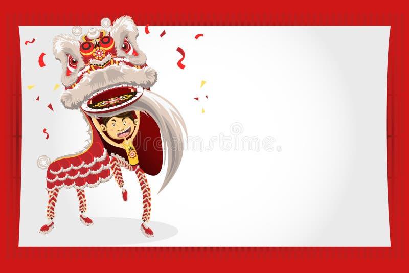 för danshälsning för kort nytt år för kinesisk lion