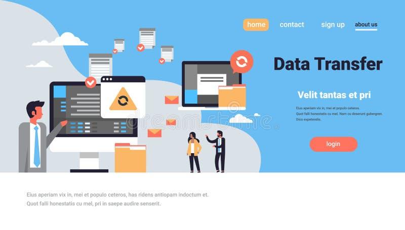 För dataöverföring för folk horisontalfunktionsduglig teknologi för omformning för tillträde för databas för anslutning för dator royaltyfri illustrationer