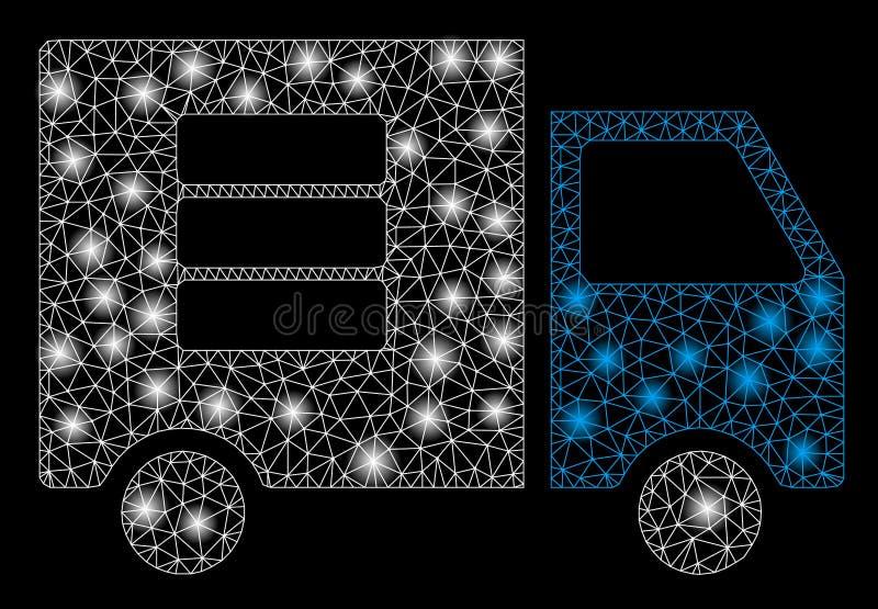 För dataöverföring för ljust ingrepp 2D skåpbil med signalljusfläckar stock illustrationer
