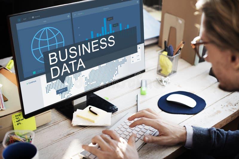 För dataanalys för global affär begrepp för framgång för tillväxt arkivfoto