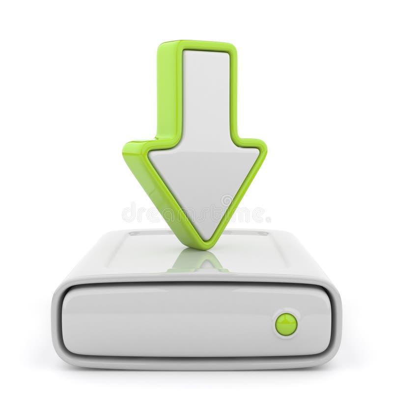 för datadrev för pil 3d upload för symbol för hdd stock illustrationer