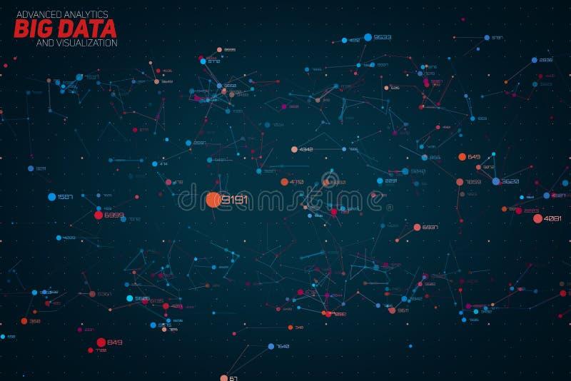 För datapunkt för vektor abstrakt färgrik stor visualization för täppa Futuristisk infographicsdesign Visuell information stock illustrationer
