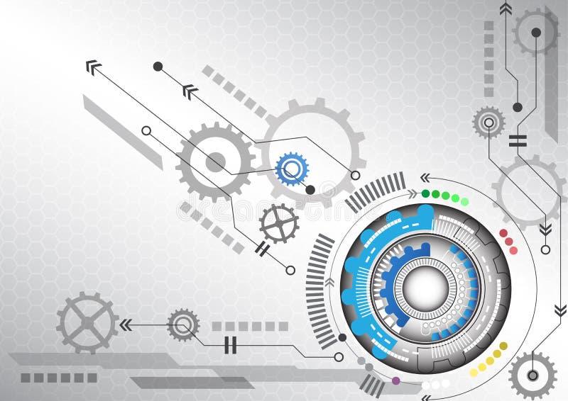 För datateknikaffär för abstrakt futuristisk strömkrets hög illustration för vektor för bakgrund vektor illustrationer